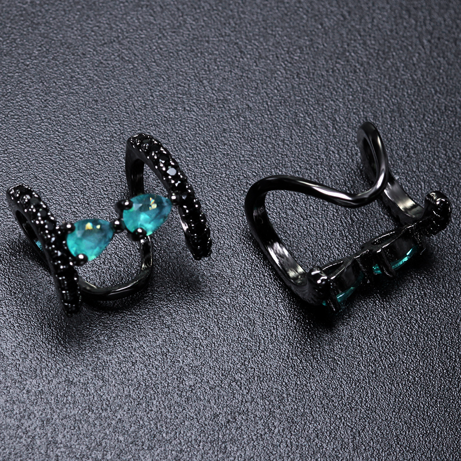 Trendy Water Drop Stone Cubic Zirconia Paved Cuff Earrings for Women Ear Cuff No Pierced Brincos Earrings for Women EWX073 delicate rhinestone filigree butterfly solid color ear cuff for women