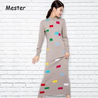 Fashion Women Winter Thick Warm Sweater Dress High Quality O Neck Cashmere Wool Long Knitted Dress