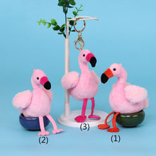 Mini Flamingo Bird Plush Stuffed Animal Toys Pendant Backpack Doll With Perfume Fragrance Smell For Girls Birthday Gift(China)