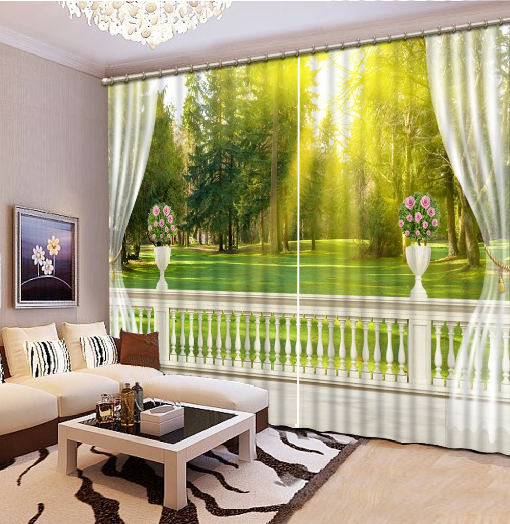 Custom Luxury Curtains 3D HD Balcony Tree Scenery Curtains