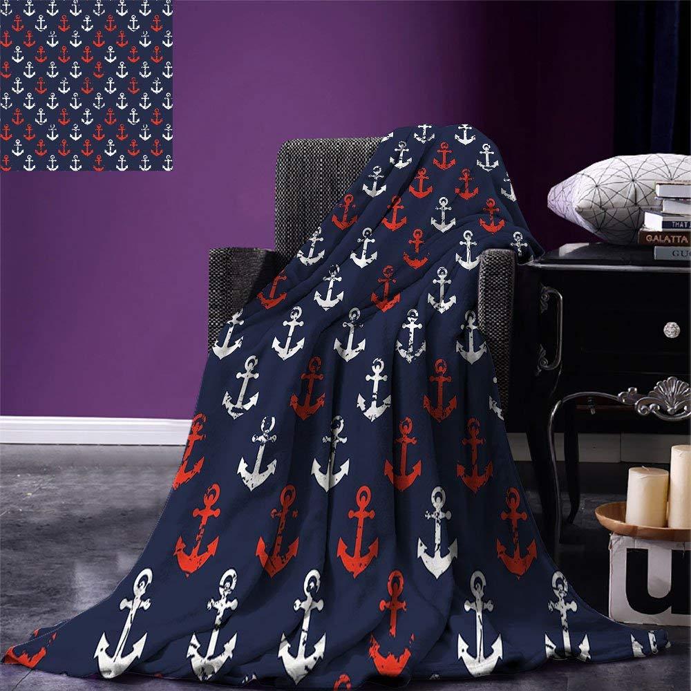 Ancre jeter couverture thème de la mer abstraite avec affichage Grunge porté à la recherche icônes marines microfibre chaude
