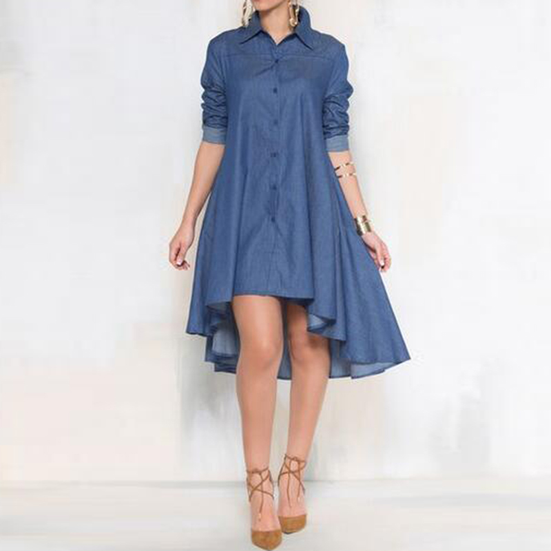 Denim Shirt Long Sleeve Mini Dresses Women