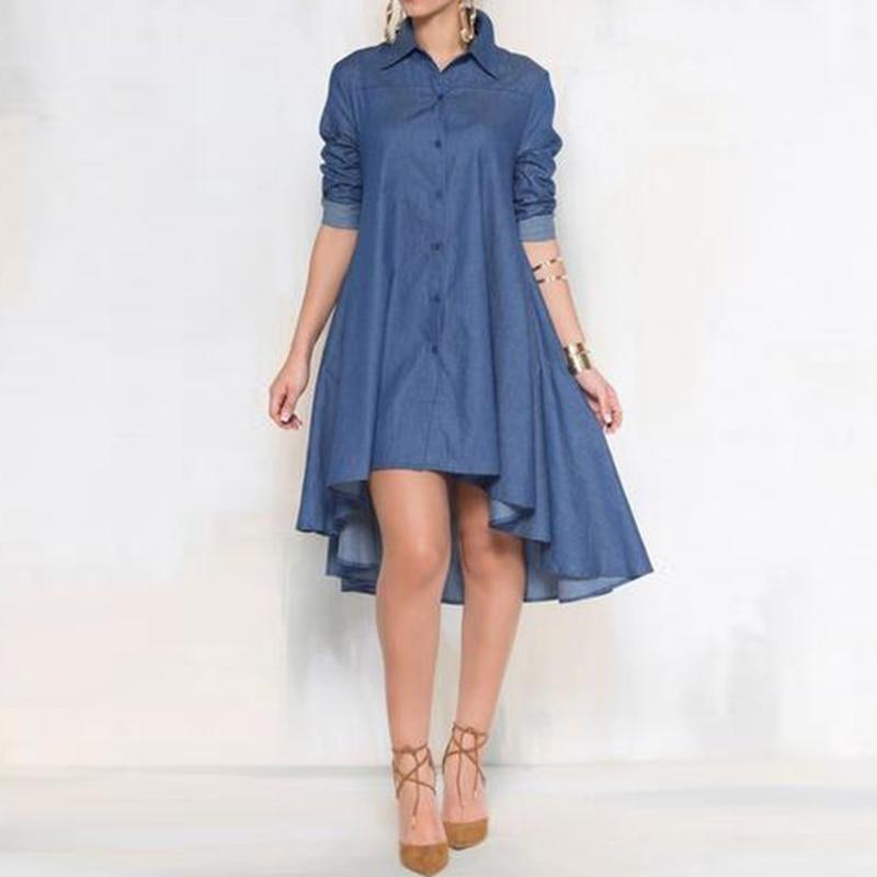 Denim Shirt Long Sleeve Mini Dresses Women