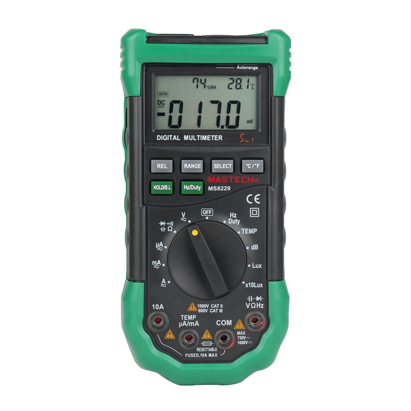 Mastech MS8229 Auto-Range 5-in-1 Multi-functional Digital Multimeter with DMM, Lux,Humidity,Sound Level,Thermometer mastech ms8226 dmm 3 3 4 digital multimeter auto range capacitance resistance temperature backlight