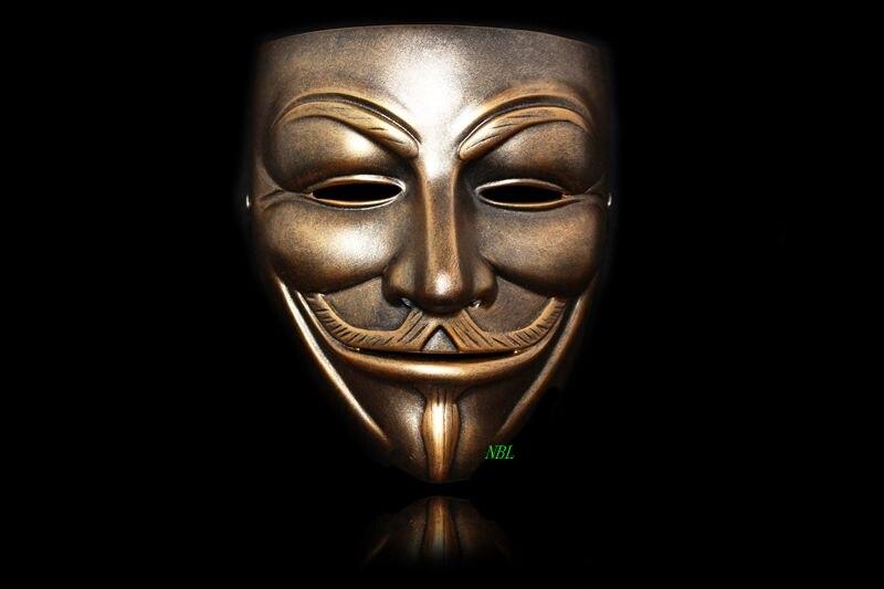 V Per Vendetta Anonymous Maschera di Halloween Anonymous maschera di Guy Fawkes Pieno Viso Resina Maschere Movie Vestito Operato Cosply Formato Adulto