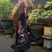 Ordifree 2019 Summer Boho Women Embroidery Long Dress Bohemian Ruffle Floral Embroidered Vintage Maxi Dress Holiday Clothes