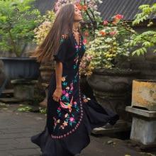 Ordifree 2020 Summer Boho Women Embroidery Long Dress Bohemian Ruffle Floral Emb