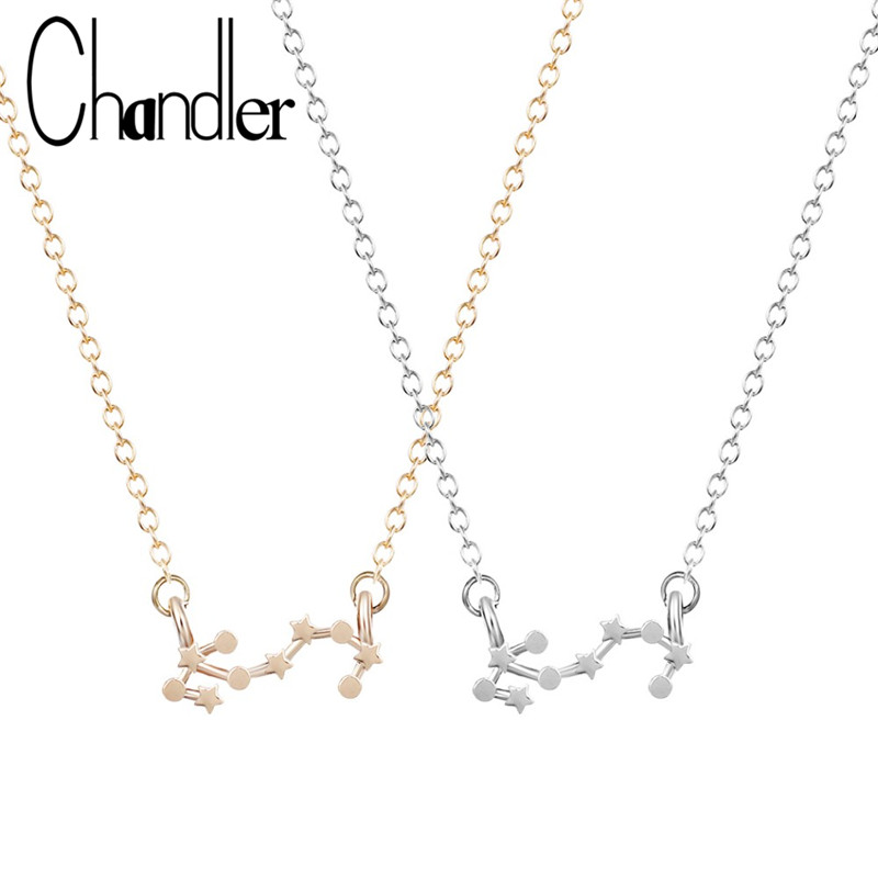 Chandler Hot Scorpio Astrology Necklace Zodiac Sign Constellation Birthday Gift For Women Girls Fashion Invisible Chain Colier