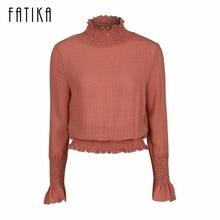 Fatika осень 2017 г. модная блуза Топы корректирующие Для женщин с рукавом-бабочкой пикантная тонкая талия высокой шеей шифон Блузки для малышек для Для женщин