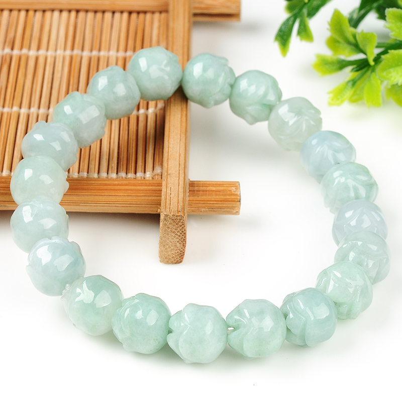 Wholesale 100% Natural / Jadeite Lotus Beads Elastic line Bracelet 1PCS