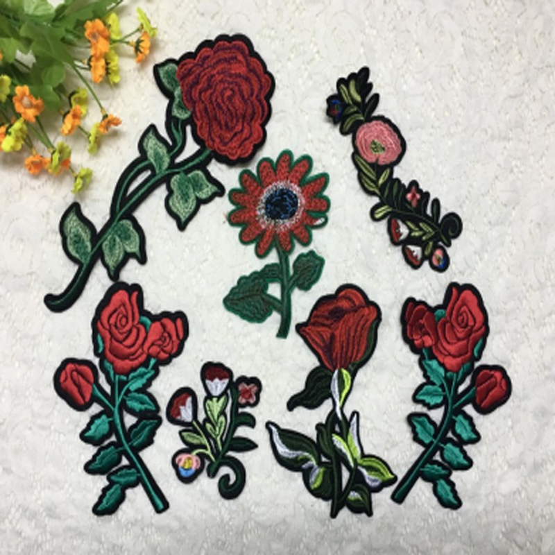New Garment Rose Flower Decoration Embroidered Patch Iron-On Craft Applique