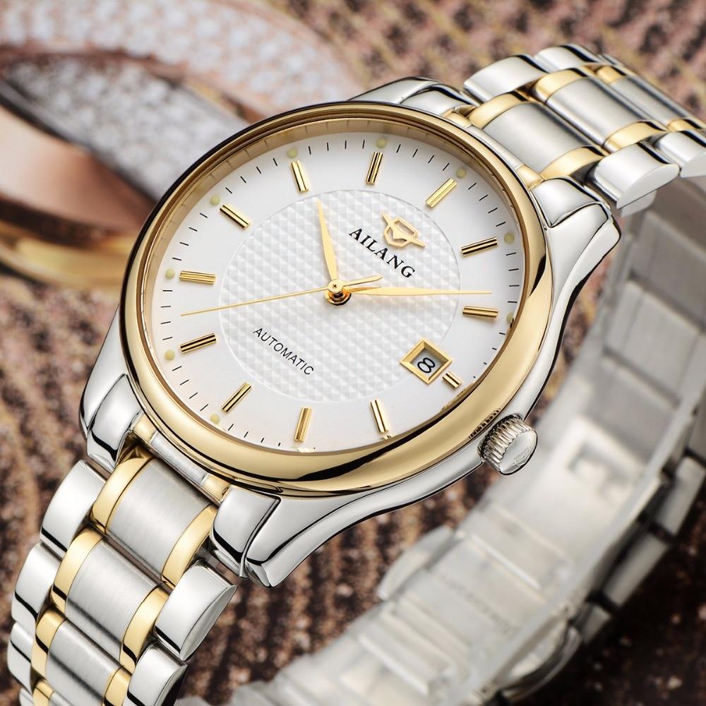 자동 기계식 시계 ailang 얇은 방수 시계 움직임과 일본 가죽 시계 밴드 시계 남자-에서기계식 시계부터 시계 의  그룹 1