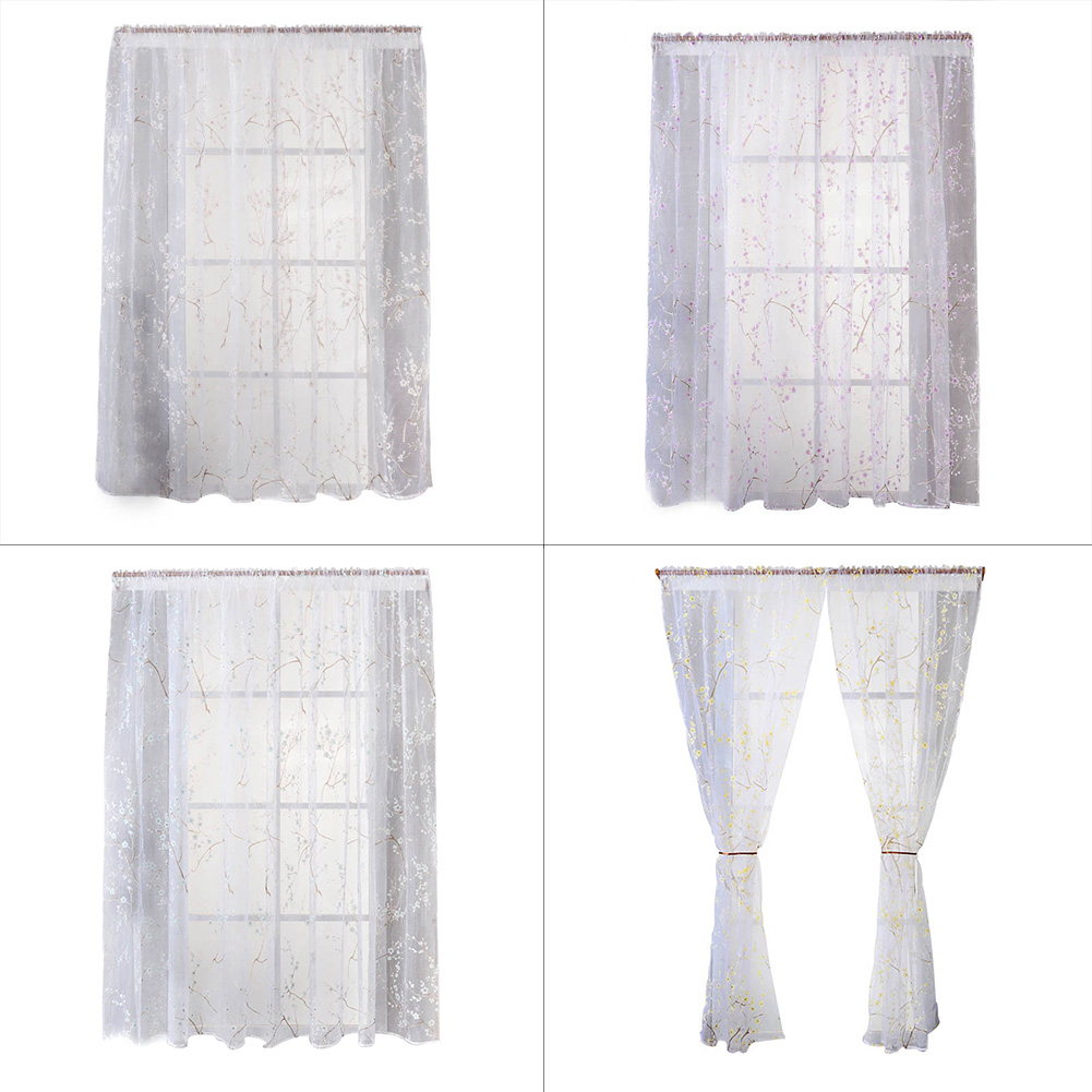 1X2M Cheap Window Curtains Transparent Bedroom Living Room Floral Tulle  Fabrics Short Curtain Home Decoration(