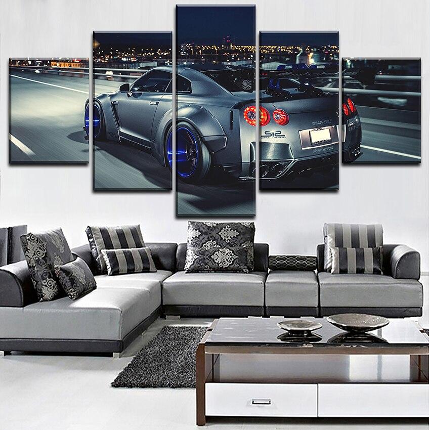 5 Pièces Nissan Skyline Gtr Affiche Toile HD Imprimé Peinture Pour Moderne Décoratif Chambre Mur Art Paysage Urbain Image