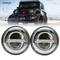 7 LED H4 DRL Headlights with H4 to H13 Adapter For LADA VAZ 2101 7Inch LED HeadlampsFor Jeep Wrangler lada niva 4x4