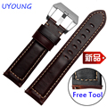 New arrival quality genuine leather watchband 22mm brown replacement leather wristband quick release for Garmin Fenix chronos