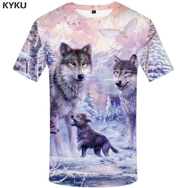 6072f3c3 KYKU Brand Wolf T shirt Women Snow Clothing Jungle Tshirt Tops Clothes 3d T- shirt