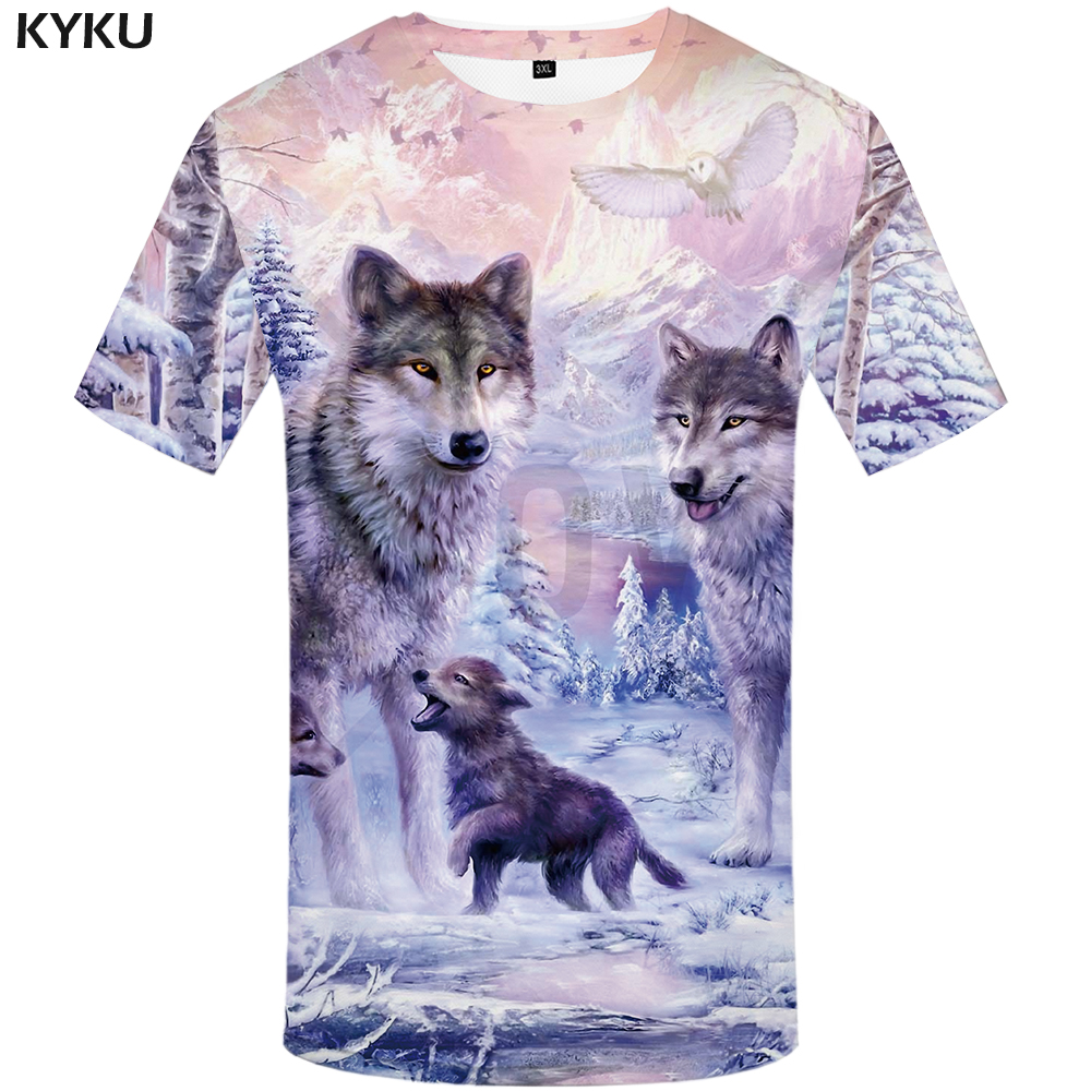 KYKU Brand Wolf <font><b>T</b></font> <font><b>shirt</b></font> Women Snow Clothing Jungle Tshirt Tops Clothes <font><b>3d</b></font> <font><b>T</b></font>-<font><b>shirt</b></font> Womens Hip hop <font><b>Sexy</b></font> Top Tee Female image