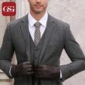 Brand Designer Men Lambskin Gloves Touch Screen Gloves Black High Quality Winter Gloves Anti-wear Warm Lined Mitten Full Finger