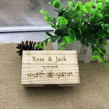 Персонализированная Свадьба/на День Валентина, обручальное деревянное кольцо, коробка для носителя, Деревенское свадебное кольцо, коробка для кольца, на заказ