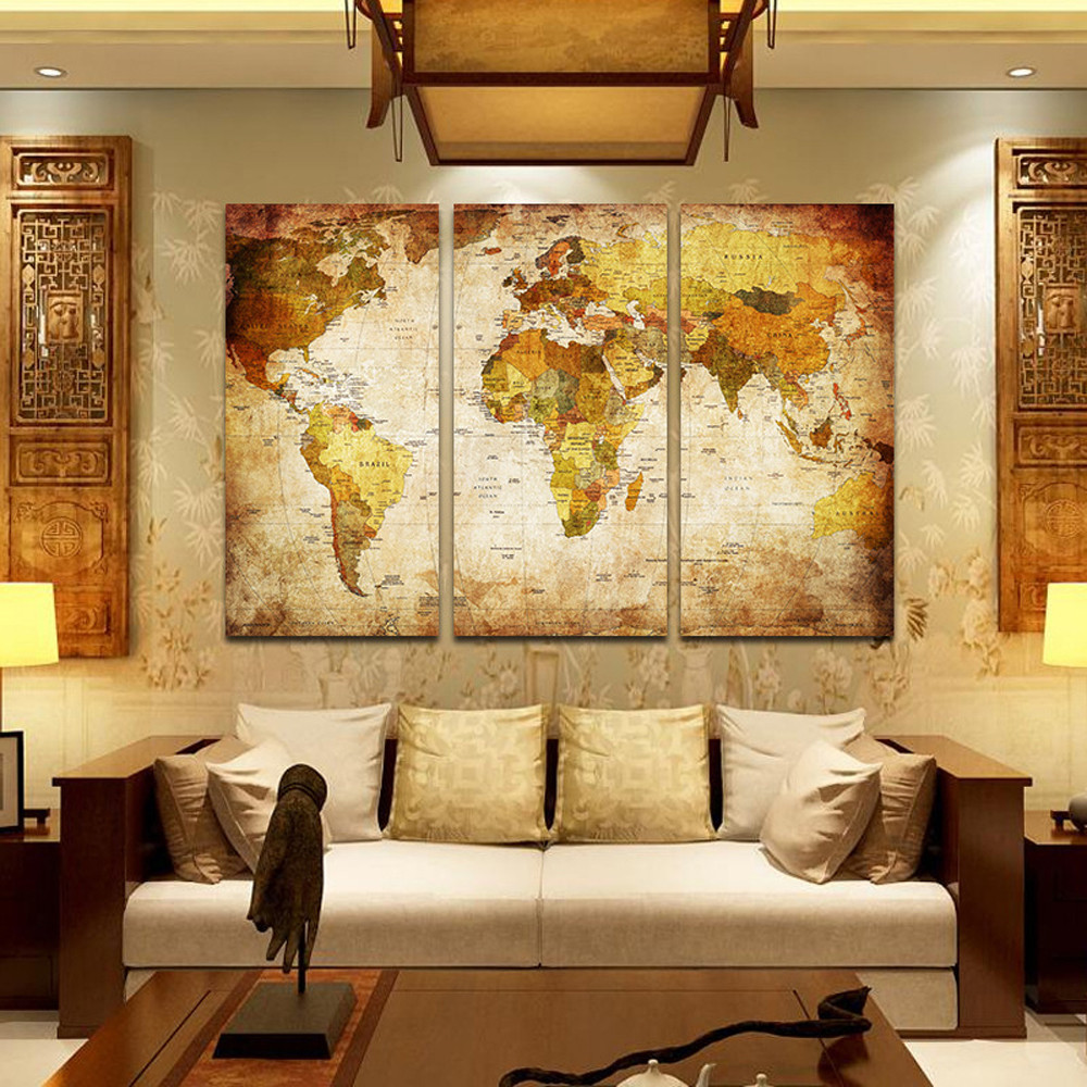 World Map Wall Art Canvas Posters and Prints Modular Picture For ...