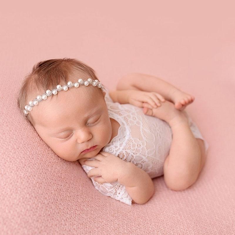 Sparkling Pearls Baby Head Band Elastic Newborn Photography Accessories Rhinestones Baby Girls Headbands Golden/Silver