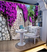 Wall and Purple Floral 3D Window Curtain Drapes, Lace Scenery Living Room Curtain, Machine Washable 2Panels size