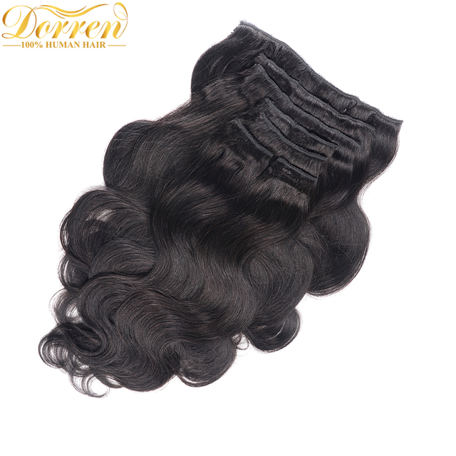 200G Full Head Clip In Human Hair Extensions Brazilian Machine Made Remy Hair 100% Human Hair Natural Black Color By UPS 5