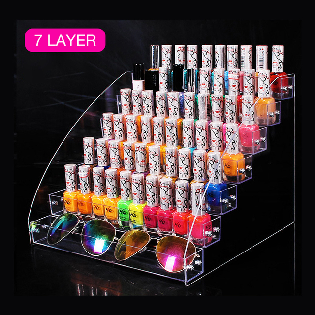 2-7 Tiers Well-packed Nail Polish Rack Display Holder Box Stand Case Lipstick Organizer Storage Box Acrylic For Nail Art Display