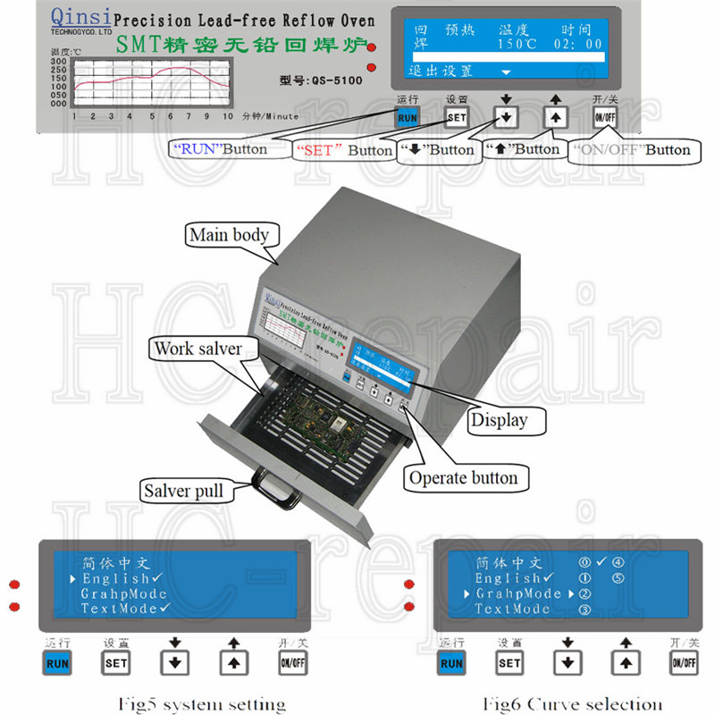 Soldering stove QS-5100 600W Desktop Automatic Lead-Free SMT Reflow Oven for SMD SMT Rework solder area 180*120mm