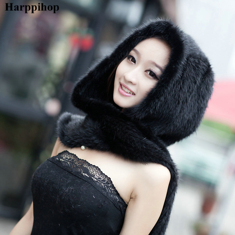 2017 Real Mink Fur Scarf Luxury Women Scarves Winter Handmade Knitted Natural Mink Fur Hat Scarf Female