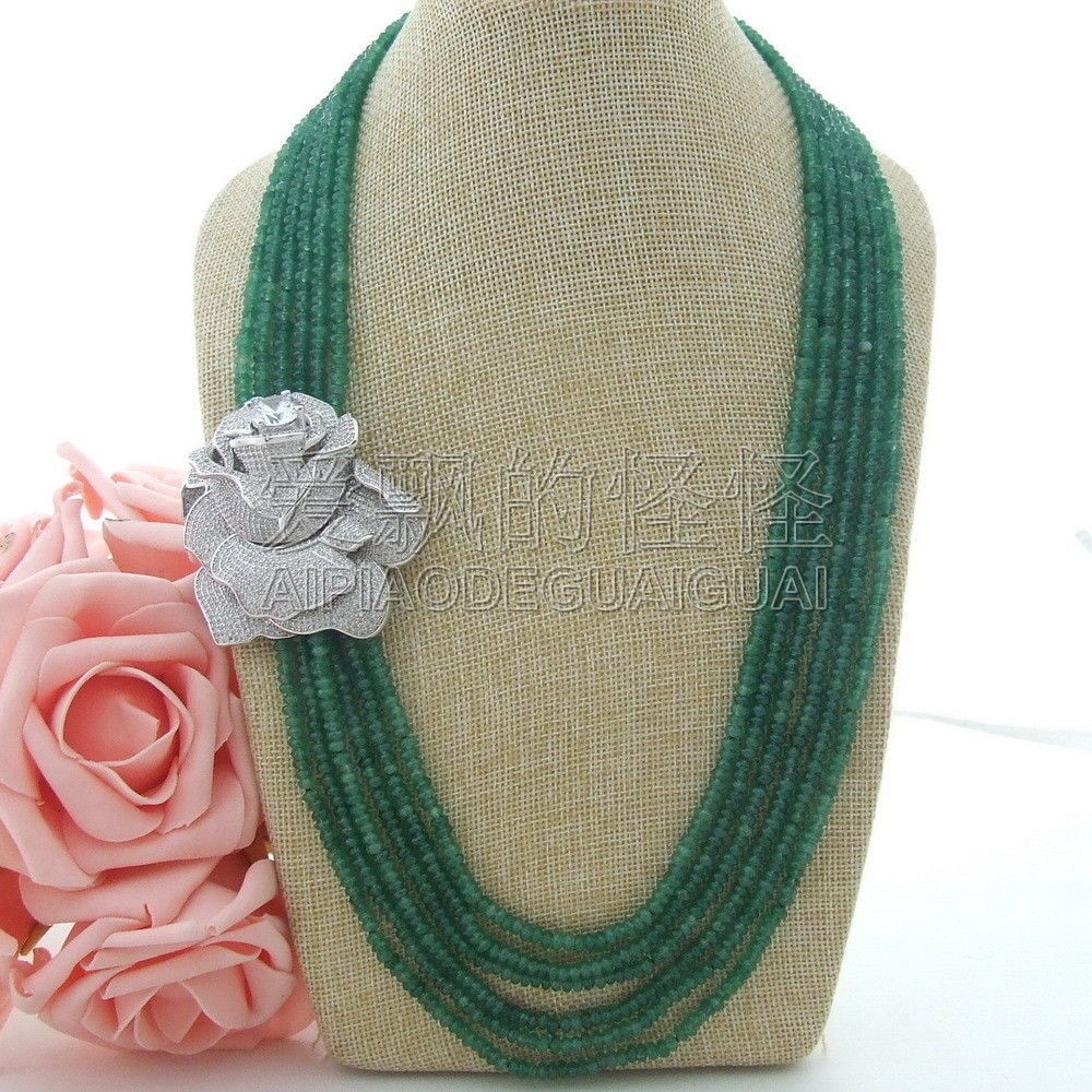 Women's 24''-27'' 6 Strands Rondelle Green Necklace CZ Connector