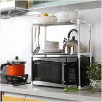 2-layer Stainless Steel Multi-function Microwave Oven Rack Retractable Kitchen Storage Organizer Storage Rack Shoe Rack Home