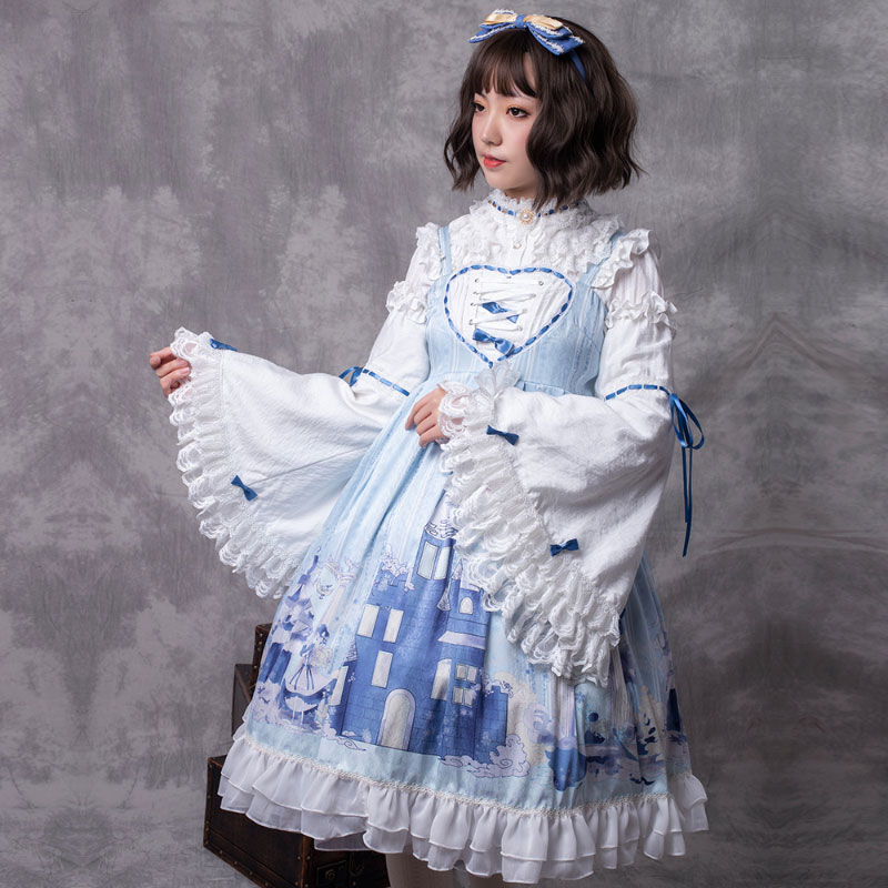 The Snow Lady Sweet Lolita JSK Dress with Detachable Flare Sleeves by YLF