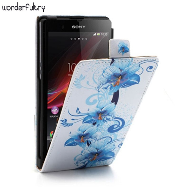 Wonderfultry For Sony Xperia Z C6603 Capa Beautiful Pattern Design Vertical PU Leather Flip Case cover For Sony Z Z1 Z1 Compact
