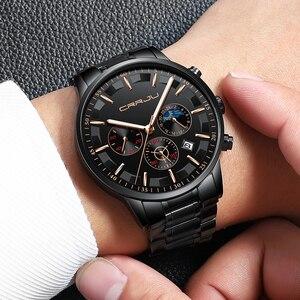 Image 5 - Crrju男性ステンレス鋼クォーツ防水時計多機能クロノグラフ日付表示腕時計黒レロジオ