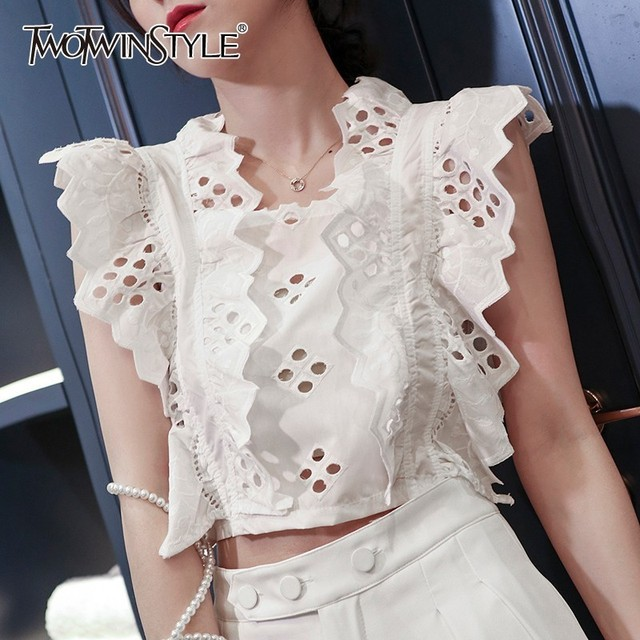 8e46f12a20e TWOTWINSTYLE Casual Hollow Out Women T Shirt Square Collar Sleeveless Off  Shoulder Ruffles Bowknot Crop Tops Female Summer 2019