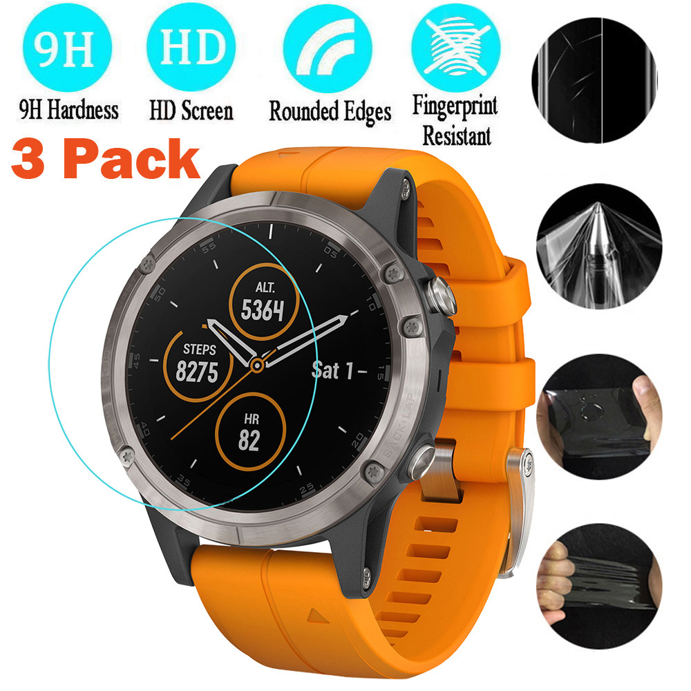 Free Shipping 3pcs Explosion-proof TPU Full Cover Screen Protector Film On For Garmin Fenix 5 Plus Protective Film Bubble Free