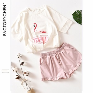 Image 1 - Flamingos Short Sleeved + Shorts Home Suit Spot 100% Cotton Pajama Sets Summer Nightly Recommended Womens pijama home clothing