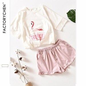 Image 1 - Flamingos pijama feminino de manga curta + shorts, conjunto de pijama para casa, cor 100% algodão, recomendado para o verão, roupas para mulheres