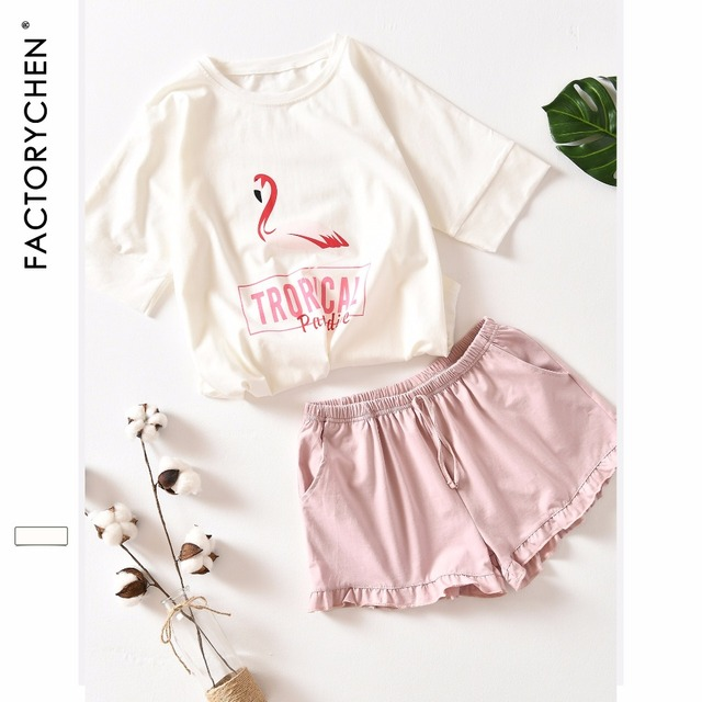 Hồng Hạc Tay Ngắn + Quần Short Nhà Phù Hợp Với Vị Trí 100% Cotton Pyjama Bộ Mùa Hè Ban Đêm Dành Nữ Pijama Quần Áo Mặc Ở Nhà