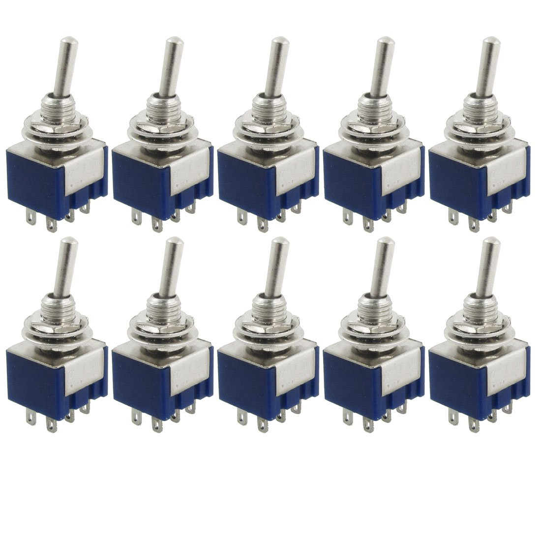 10 Pcs AC 125V 6A Amps ON/ON 2 Position DPDT Toggle Switch promotion 10pcs ac 6a 250v 10a 125v 6 pin dpdt on on 2 position snap in boat rocker switch