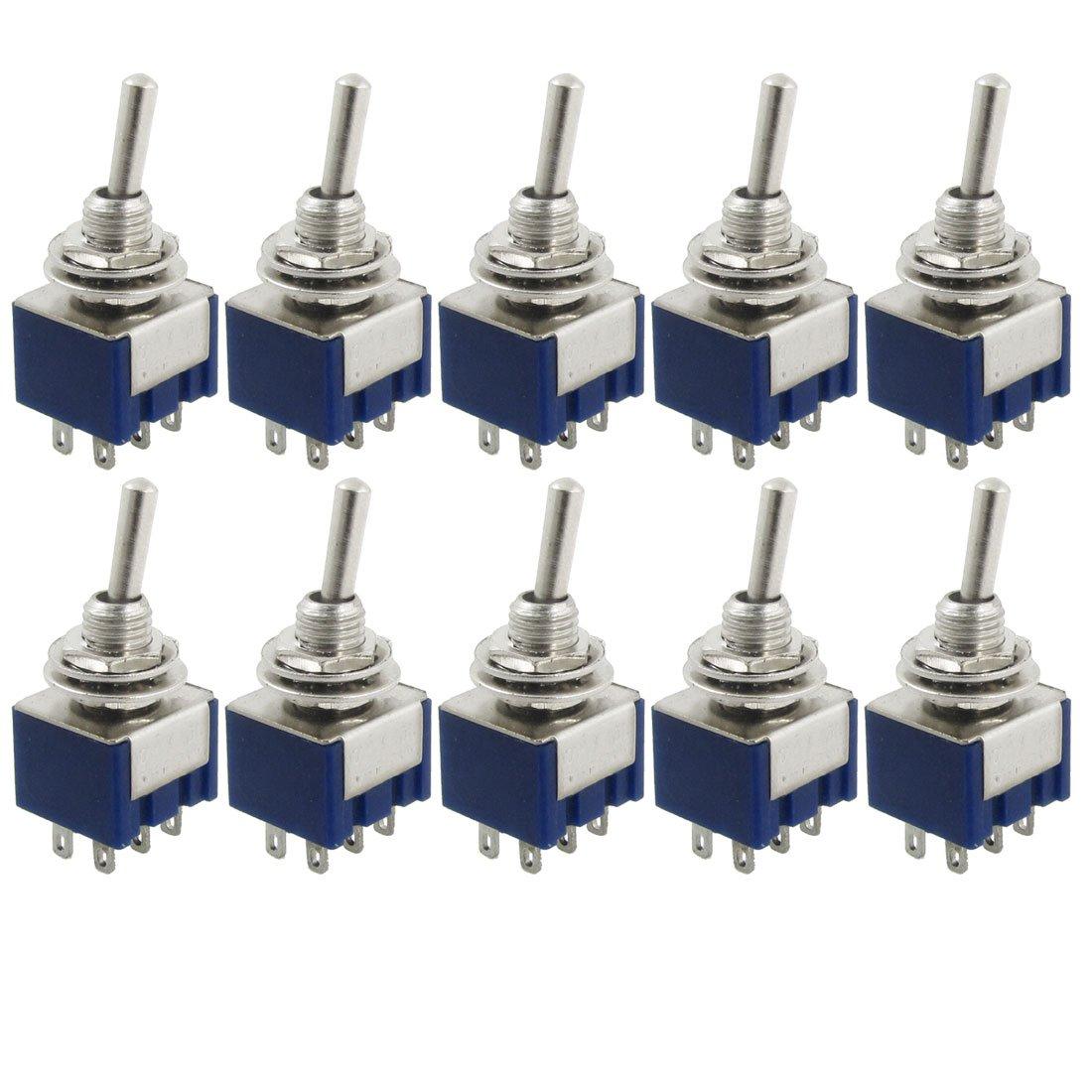 10 Pcs AC 125V 6A Amps ON/ON 2 Position DPDT Toggle Switch [vk] av044746a200k switch pushbutton dpdt 6a 125v switch