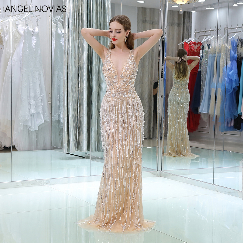 338a11a83a ANGEL NOVIAS Abendkleider 2018 Long Champagne Mermaid Crystals V Neck Evening  Dresses 2018 with Tassel Party Woman Dress