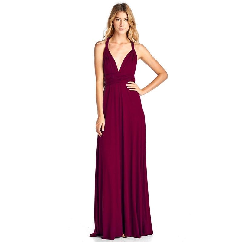 Spandex Convertible   Bridesmaid     Dresses   Multi-way Elastic Waist Burgundy V Neck Sexy A Line Floor Length   Dress
