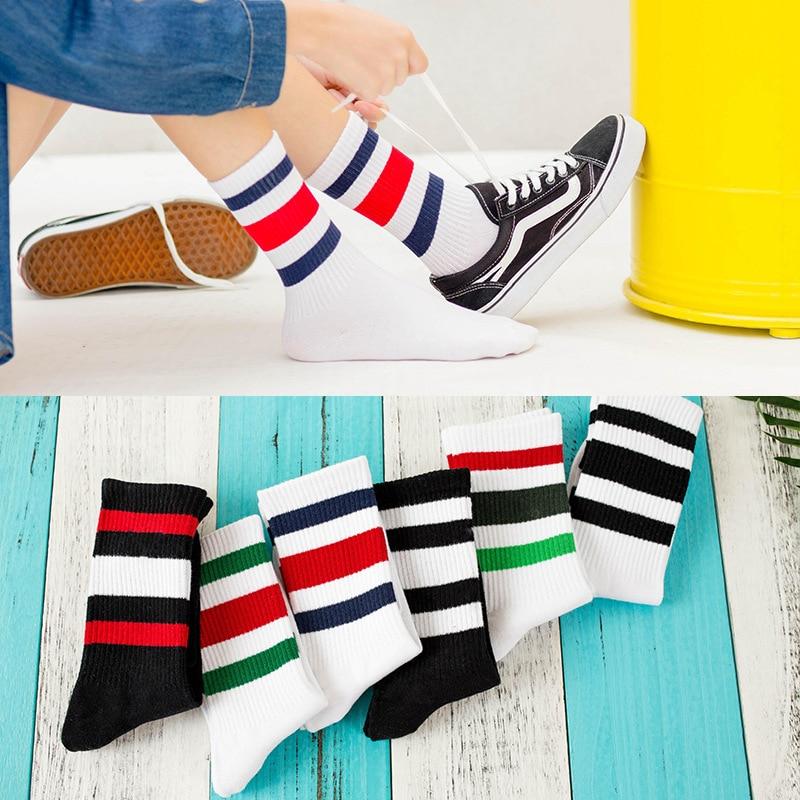 New Women Rainbow 3 Three Stripes Cotton Socks Retro Old School Hiphop Skate Long Short Meias harajuku Sexy Women Warm