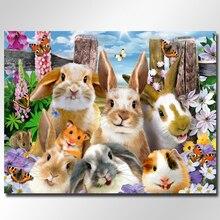 кролик 5д алмазной живописи алмазная вышивка по фотографии, алмазная мозаика украшения дома вышивки крестом не складывая холст ремесла