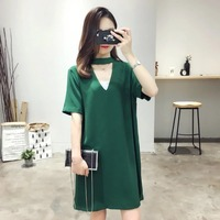 2016 New Arrival Summer Women S Short Sleeve V Neck Simple Solid Color Slim Was Thin
