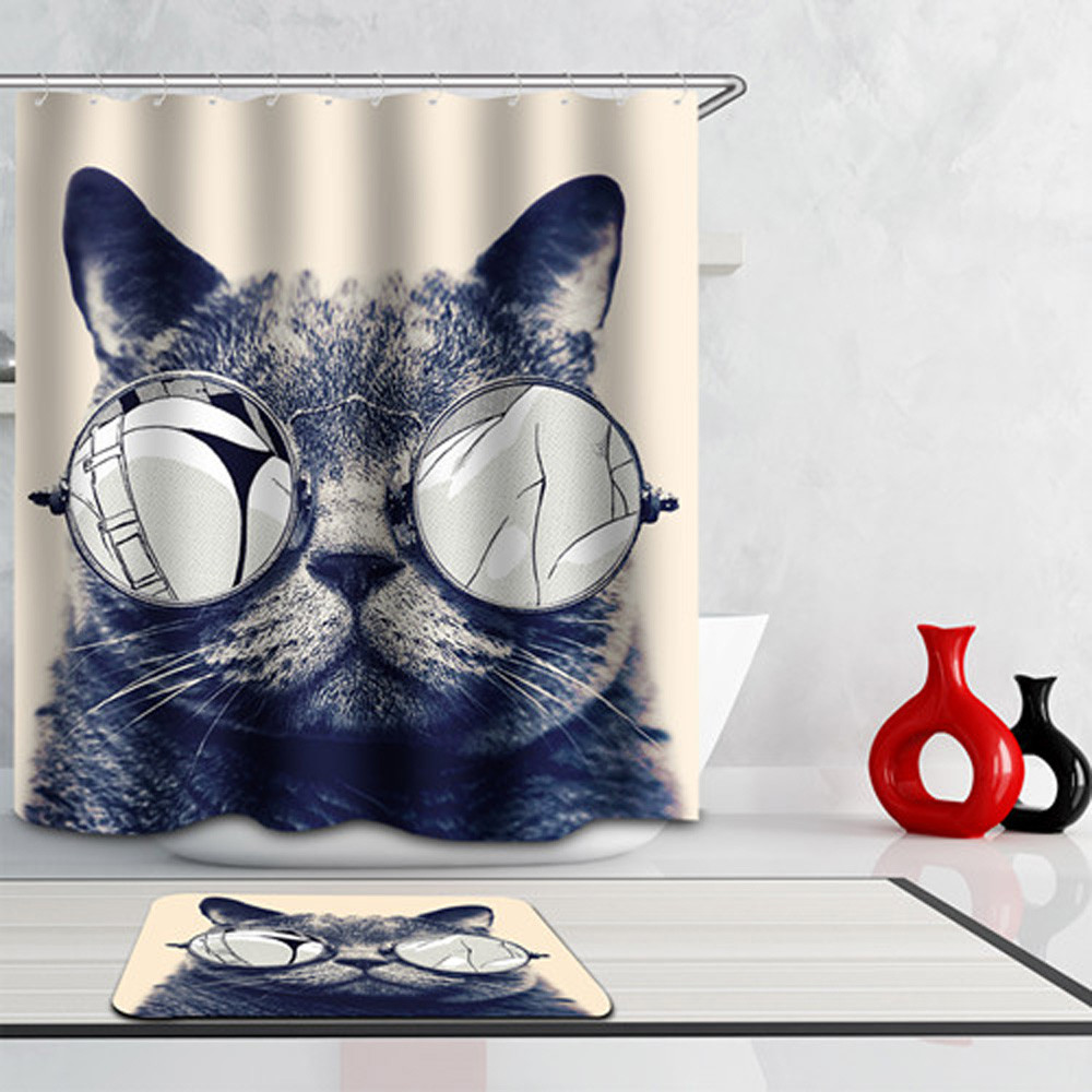 2017 Ouneed Fashion New Cat Folding Waterproof Shower Curtains For Bathroom Hot Sale