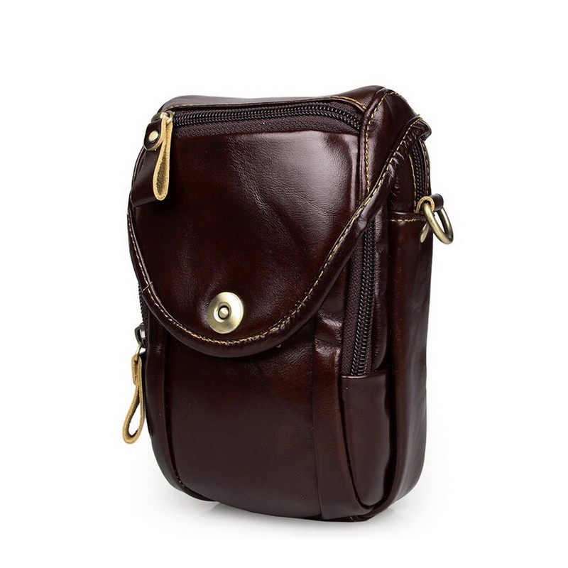 Causal cowhide leather men bags small crossbody men messenger bags genuine leather waist pack mini cell phone bag camera bag (1)